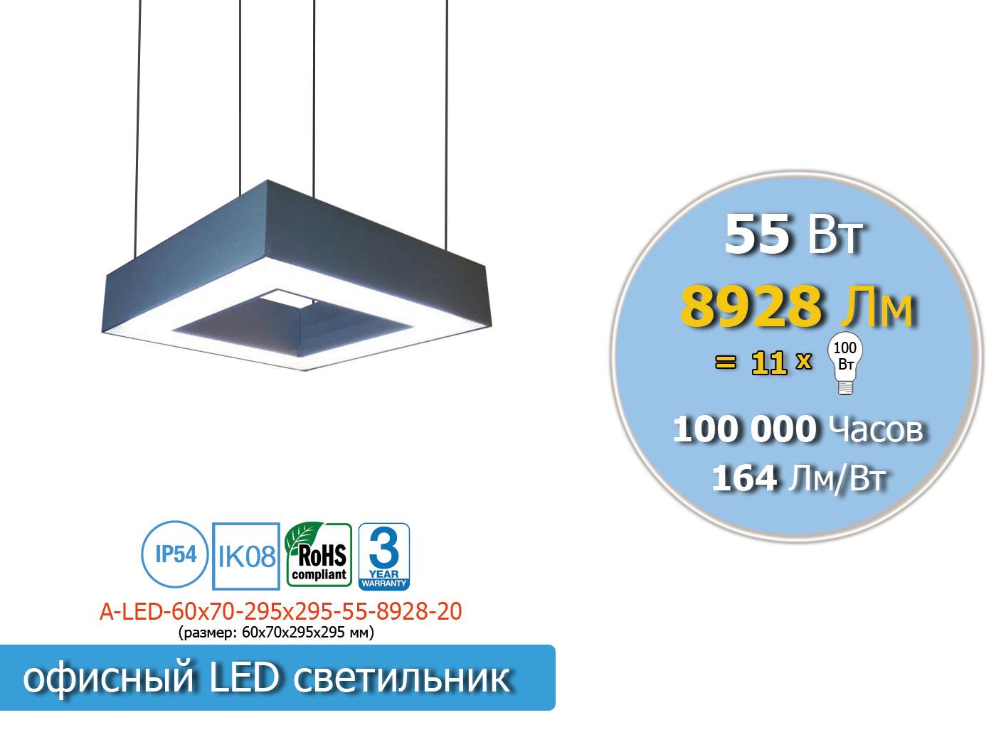Прямоугольный LED светильник 55 Вт